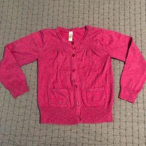 Girls pink w/sparkle thread button up cardigan
